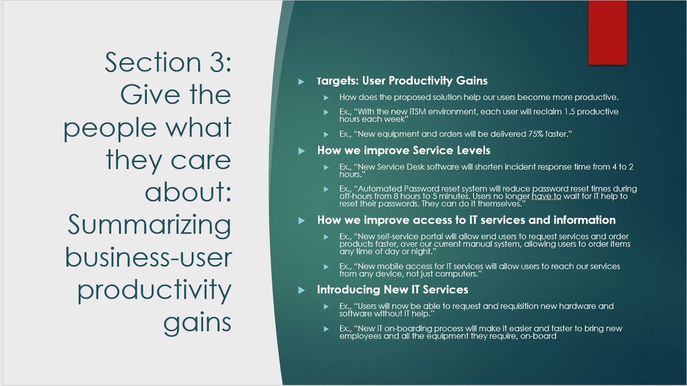 Example presentation slide for summarizing business-user productivity gains