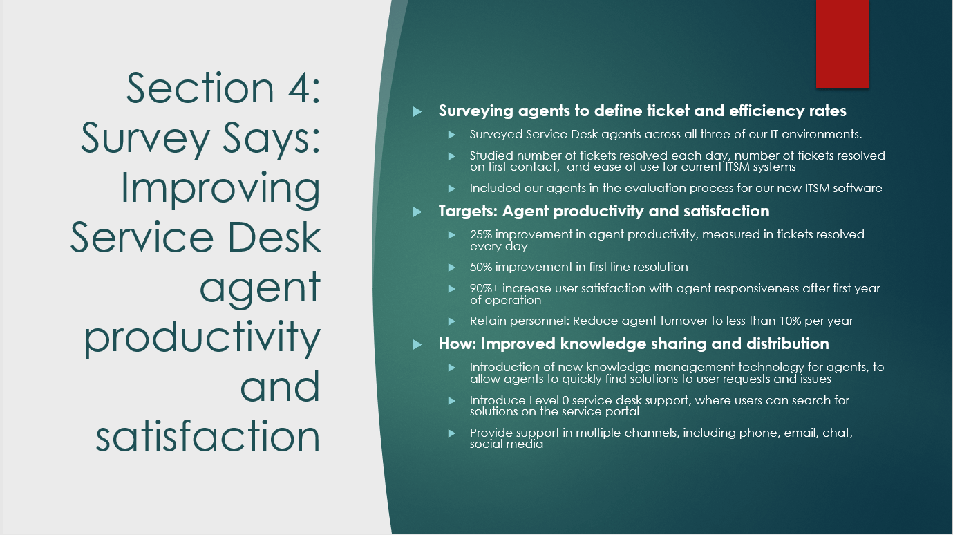 Sample presentation points for discussing Service Desk agent productivity improvements