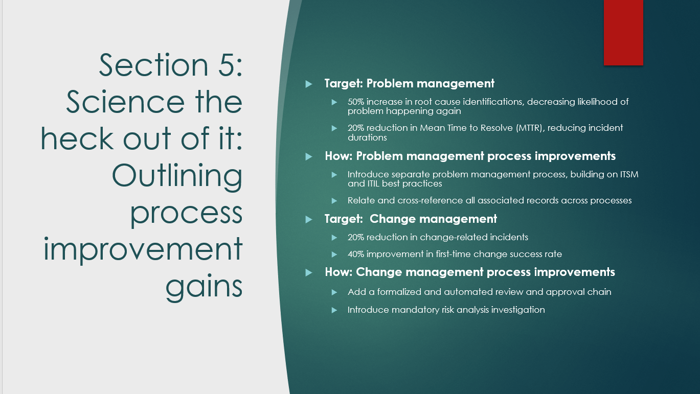 Sample presentation for discussing process improvement gains for an ITSM business case